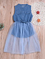 cheap -Kids / Toddler Girls' Sweet / Cute Daily Solid Colored Mesh Sleeveless Cotton / Polyester Dress Blue