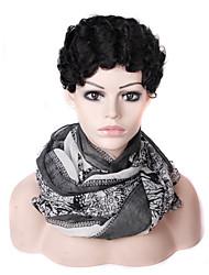 Недорогие -Парики из искусственных волос Жен. Волнистый Черный Стрижка каскад Искусственные волосы 8 дюймовый Женский / синтетический / Лучшее качество Черный Парик Короткие Машинное плетение Черный Laflare