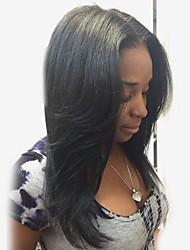 Недорогие -Человеческие волосы без парики Натуральные волосы Естественный прямой Средняя часть Стиль Модный дизайн / Горячая распродажа / Удобный Черный Длинные Без шапочки-основы Парик Жен. / Природные волосы