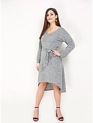 hesapli -Kadın's Büyük Bedenler Parti Vintage Zarif Pamuklu A Şekilli Kılıf Elbise - Solid V Yaka Asimetrik