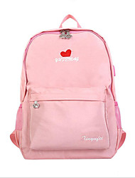 저렴한 -여성용 가방 나일론 책가방 지퍼 용 학교 봄 블랙 / 블러슁 핑크