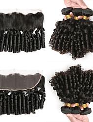 abordables -3 paquets avec fermeture Cheveux Brésiliens Boucle rebondissante Cheveux Naturel Rémy Extensions Naturelles Trame cheveux avec fermeture 10-26 pouce Naturel Tissages de cheveux humains Doux Meilleure
