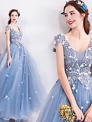 Χαμηλού Κόστους -Cinderella Φορέματα Γυναικεία Στολές Ηρώων Ταινιών Μπλε Φόρεμα Halloween Απόκριες Μασκάρεμα Organza Βαμβάκι Κέντημα