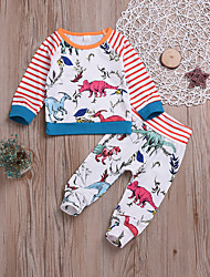 billige -Baby Gutt Aktiv / Grunnleggende Daglig Trykt mønster Trykt mønster Langermet Normal Bomull Tøysett Regnbue