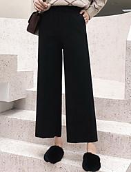 זול -מכנסי רגל רחבים רחבים לנשים - מוצק בצבע שחור גבוה המותניים