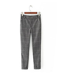 levne -dámské kalhoty asijské velikosti kalhoty - kožené šedé