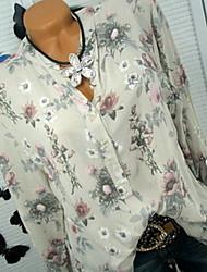 Недорогие -Жен. Рубашка Рубашечный воротник Тонкие Цветочный принт
