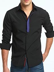 voordelige -Aziatisch slank shirt voor heren - effen overhemdkraag