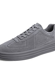 baratos -Homens Sapatos Confortáveis Couro de Porco Primavera & Outono Tênis Preto / Cinzento / Khaki