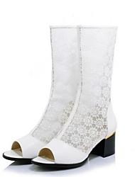 Χαμηλού Κόστους -Γυναικεία PU Άνοιξη & Χειμώνας Γλυκός / Μινιμαλισμός Μπότες Κοντόχοντρο Τακούνι Ανοικτή Μύτη Λευκό / Μαύρο / Ροζ