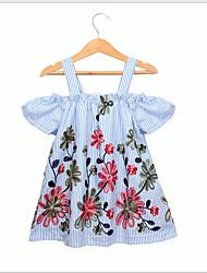 お買い得  -子供 / 幼児 女の子 甘い / かわいいスタイル 幾何学模様 半袖 ドレス ライトブルー