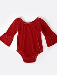 abordables -bébé Fille Actif / Basique Quotidien / Sortie Couleur Pleine Manches Longues Coton / Spandex Une-Pièce Vert