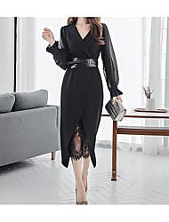 baratos -Mulheres Básico / Elegante Manga Borboleta Tubinho / Bainha Vestido - Com Transparência / Fenda, Sólido Médio Preto & Branco