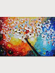 abordables -Peinture à l'huile Hang-peint Peint à la main - Abstrait A fleurs / Botanique Moderne Inclure cadre intérieur