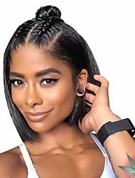 levne -Remy vlasy Přírodní vlasy 6x13 Zapínání Se síťovanou přední částí Paruka Střih Bob Krátký Bob Brazilské vlasy Rovné, hedvábné Paruka 150% Hustota vlasů s dětskými vlasy Přírodní vlasová linie