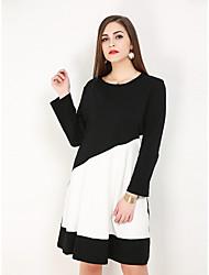 hesapli -Kadın's Büyük Bedenler Temel Zarif Pamuklu A Şekilli Kombinezon Elbise - Zıt Renkli Asimetrik Siyah ve Beyaz