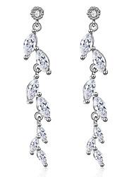 0021aa2889ab Mujer Claro Zirconia Cúbica Largo Pendientes cortos Pendientes colgantes  Chapado en Plata Diamante Sintético S925 Sterling Silver Aretes Tema Floral  Forma ...