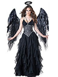 Χαμηλού Κόστους -Angel & Devil Ο μεγαλύτερος αθλητής Φορέματα Φτερά Χορός μεταμφιεσμένων Γυναικεία Στολές Ηρώων Ταινιών Μαύρο Φόρεμα Φτερά Καλύμματα Κεφαλής Halloween Απόκριες Μασκάρεμα Τούλι Πολυεστέρας