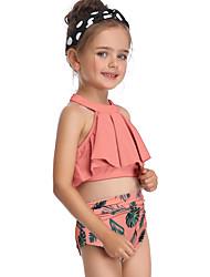 ราคาถูก -เด็ก / Toddler เด็กผู้หญิง พื้นฐาน / สไตล์น่ารัก Sport / ชายหาด ลายดอกไม้ ระบาย / ลายพิมพ์ เสื้อไม่มีแขน ไนลอน ชุดว่ายน้ำ ส้ม