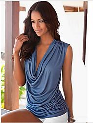 billiga -kvinna strand eu / us storlek tunn t-shirt - solid färgad djup v