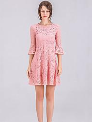 Χαμηλού Κόστους -Γυναικεία Κομψό Θήκη Φόρεμα - Μονόχρωμο Λεοπάρ, Δαντέλα Μακρύ