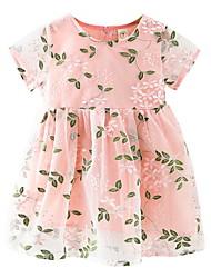 זול -שמלה שרוולים קצרים פרחוני סגנון חמוד בנות ילדים