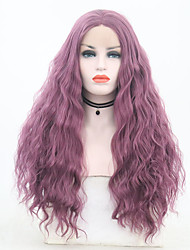 cheap -Synthetic Lace Front Wig Wavy Purple Middle Part Purple Synthetic Hair 24 inch Women's Adjustable / Heat Resistant / Party Purple Wig Long Lace Front
