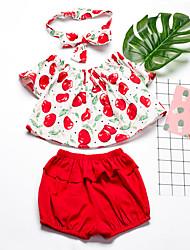 tanie -Dzieci Dla dziewczynek Podstawowy Solidne kolory Krótki rękaw Regularny Regularny Bawełna Komplet odzieży Czerwony