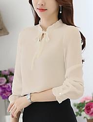 billiga -damskjorta - solid färgad stående krage