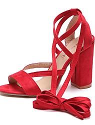 baratos -Mulheres Camurça Verão Sandálias Salto Robusto Marron / Vermelho / Rosa claro