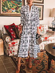 Недорогие -Жен. Элегантный стиль С летящей юбкой Платье - Геометрический принт, С принтом Средней длины