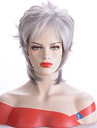 olcso -Szintetikus parókák Természetes egyenes Barna Aszimmetrikus frizura Szürke Szintetikus haj 12 hüvelyk Női Parti Barna Paróka Rövid Sapka nélküli