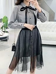 رخيصةأون -قميص بطول الركبة للنساء قميص طوق أسود s m l xl