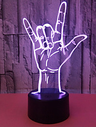 Недорогие -3D оптическая иллюзия, я люблю тебя язык жестов привело настольный свет ночи USB 5V
