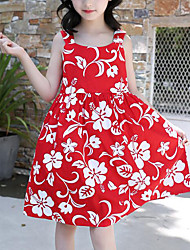tanie -Dzieci Dla dziewczynek Śłodkie / Moda miejska Kwiaty Nadruk Bez rękawów Bawełna Sukienka Czerwony