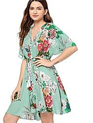 저렴한 -여성용 A 라인 드레스 - 플로럴, 드로스트링 무릎 위