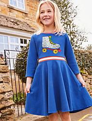 Χαμηλού Κόστους -Παιδιά Κοριτσίστικα χαριτωμένο στυλ Γεωμετρικό Πούλιες Μακρυμάνικο Ως το Γόνατο Πολυεστέρας Φόρεμα Ανθισμένο Ροζ