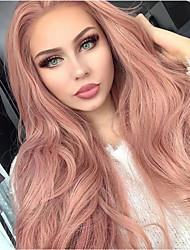 Недорогие -Синтетические кружевные передние парики Естественные волны Kardashian Стиль Средняя часть Лента спереди Парик Черный Розовый Искусственные волосы 20-26 дюймовый Жен. Природные волосы Розовый Парик