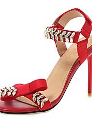 ieftine -Pentru femei Pânză Vară Afacere / minimalism Sandale Toc Stilat Vârf deschis Piatră Semiprețioasă Galben / Rosu / Roz / Nuntă / Party & Seară