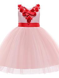 abordables -Enfants / Bébé Fille Rétro Vintage / Doux Couleur Pleine / Fleur Sans Manches Mi-long Robe Rose Claire