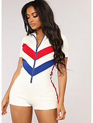 ราคาถูก -สำหรับผู้หญิง Street Chic สีน้ำเงิน ขาว สีดำ Romper, ลายบล็อคสี XL XXL XXXL
