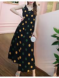 זול -מקסי מנוקד - שמלה סווינג אלגנטית בגדי ריקוד נשים