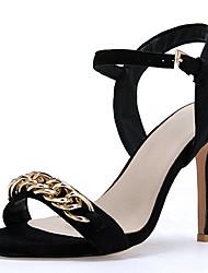 ieftine -Pentru femei Piele / PU Primavara vara Afacere / minimalism Sandale Toc Stilat Vârf deschis Negru / Nuntă / Party & Seară