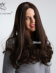 Χαμηλού Κόστους -Συνθετικές Περούκες Σγουρά / Bouncy Curl Στυλ Μέσο μέρος Χωρίς κάλυμμα Περούκα Σκούρο Καφέ Μπεζ Συνθετικά μαλλιά 26 inch Γυναικεία συνθετικός / Άνετο / Φυσική γραμμή των μαλλιών Σκούρο Καφέ Περούκα