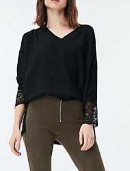 hesapli -Kadın ab / us boyut ince bluz - düz renkli v boyun