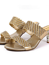 preiswerte -Damen Mikrofaser Frühling Sommer Sandalen Niedriger Heel Offene Spitze Strass / Glitter Gold / Schwarz / Purpur / Party & Festivität