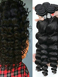tanie -6 pakietów Włosy peruwiańskie Luźne fale Zestawy w 100% Remy Weave Nakrycie głowy Fale w naturalnym kolorze Pakiet włosów 8-28 in Kolor naturalny Ludzkie włosy wyplata Bezzapachowy Jedwabisty Grube