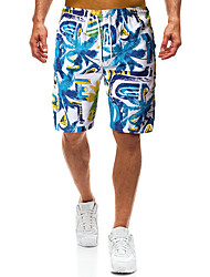 cheap -Men's Sporty Basic Blue Board Shorts Bottoms Swimwear - Color Block Lace up Print L XL XXL Blue