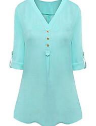 halpa -naisten eu / us-kokoinen ohut pusero - värillinen v-kaula