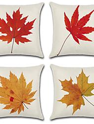 abordables -4.0 pcs Coton / Lin Taie d'oreiller, arbres / Feuilles simple Feuille Style moderne Inspiré de la nature